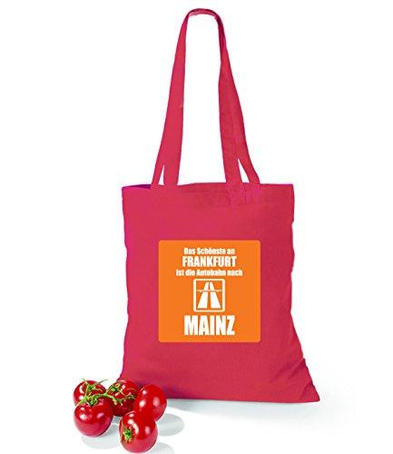 Artdiktat Baumwolltasche Das Schönste an Frankfurt ist die Autobahn nach Mainz yellow cranberry