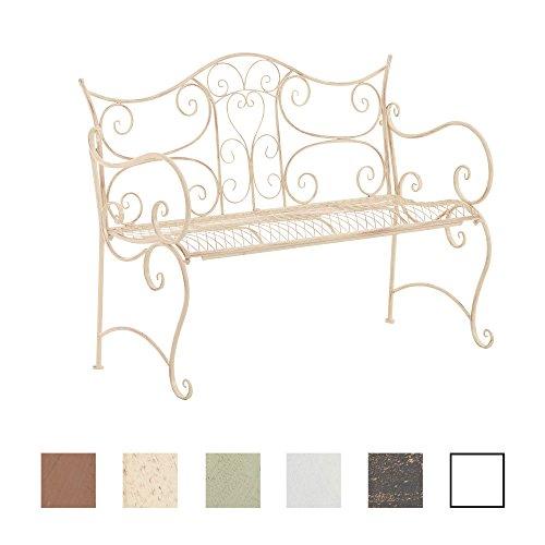 CLP Gartenbank Tara aus lackiertem Eisen I Sitzbank im Jugendstil I Eisenbank mit 2-3 Sitzplätzen I erhältlich Antik Creme