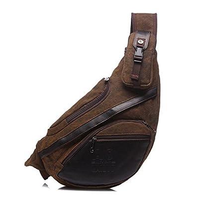 Outreo Sac bandoulière Homme Sac Porté épaule Rétro Bourse Outdoor Sac Besace Cuir Vintage Messager Sacoche de Voyage Sport Toile Chest Bag