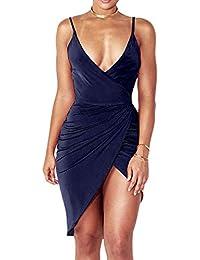 Freestyle Estivo Moda Vestiti Donna Sexy V Collo Pin Up Senza Schienale  Eleganti Abiti a Tubino Mini Vestito a Tunica… 8b8f7dcc048