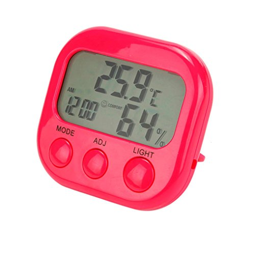 Preisvergleich Produktbild WYXlink Digital LCD Thermometer Hygrometer Uhr Feuchtigkeit Temperatur Tester (rot)