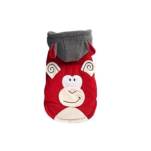 Myyxt Bekleidung Haustier Hund Katze Affe Typ Verklärung Mantel aus Baumwolle, rot , (Hund Kostüme Affe)