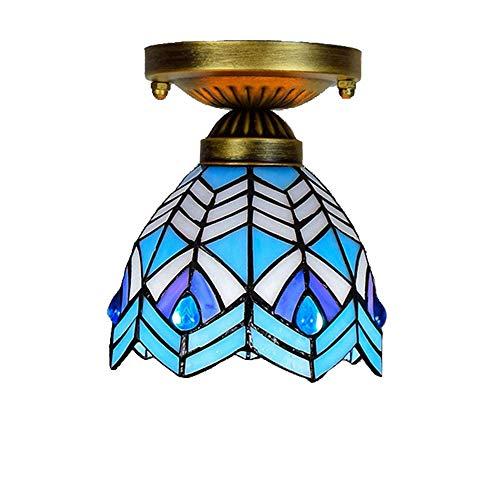 Deckenleuchte Glasmalerei Schmiedeeisen Decke Platte Gang Korridor Balkon Kleine Deckenleuchte Mittelmeer Blaue Feder Lampe,Blue ()