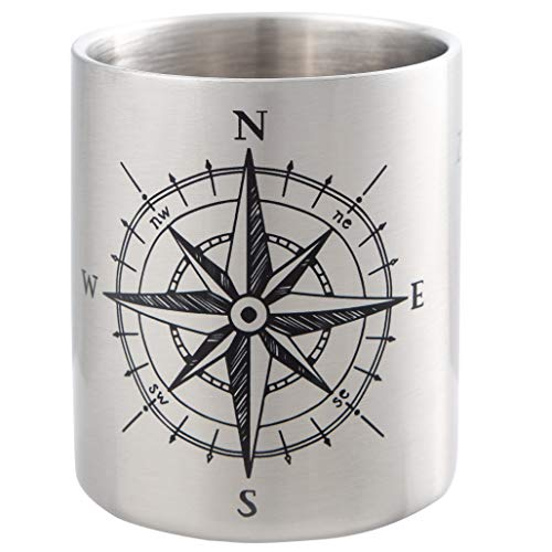 KOMPASS - Maritime Edelstahltasse mit Kompass Design - ideal für Segler und Globetrotter - bruchsicher und leicht, doppelwandige Isolation - von MUGSY.de