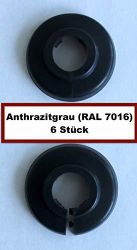 18 Ton (6 STÜCK Einzel-Rosetten für Heizungsrohre, Abdeckung für Heizungsrohre, Heizung, 15mm, 18mm, 22mm Polypropylen in Sonderfarben: Grau-, Braun- & Schwarz-Töne (18mm. RAL 7016))