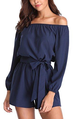 Miss Moly Damen Sexy Playsuits Overall Romper Kurz Sommerkleid Einfarbig Rückenfrei Elegant Blau - M