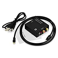Proxima Direct® DAC Digital SPDIF Toslink to Analog Analogue Stereo Audio L/R R/L AV Converter Adapter with Toslink Optical Cable - Digital Optical Coaxial to Analog Analogue Left/ Right RCA 3.5mm Audio Jack Output Compatible with Blue-ray Player Playstat