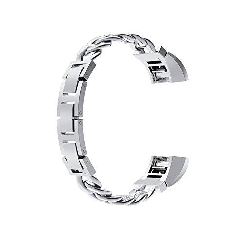 Armband für Fitbit Alta, Wearlizer Edelstahl Metall Ersatzband für Fitbit Alta / HR - Silber