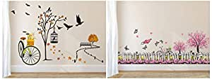 Amazon Brand - Solimo Wall Sticker for Living Room(Ride Through Nature, Ideal Size on Wall: 140 cm Wall Sticker for Living Room (Pink Floral Picket Fence with Butterflies, Ideal Combo