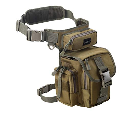 Jueachy Bolsa de Cintura Multifuncional para la Pierna, táctica, Militar, para Pesca, para Motociclismo, Senderismo, (marrón (Coyote Tan))