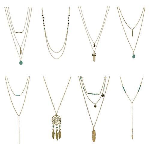 Udekit Collar de Metal de Moda de Oro de Múltiples Capas con Colgante para Mujeres y Niñas (8 Piezas/Juego)