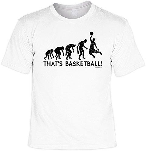 Fun Shirt mit coolem Evolutions Motiv: That s Basketball! Geschenk für alle Basketballspieler! Geburtstag - Farbe: weiss Weiß