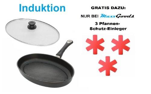 Aluguss Fisch- Grillpfanne INDUKTION 35 x 24 cm, H 5 cm inklusive Sicherheitsglasdeckel - 10 Jahre Garantie - Made in Germany
