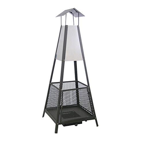 llama de chimenea Helena - Horno terraza para jardín & Balcón - Estufa EN NEGRO ACERO - piramidal - Patio Con ascheschublade - Calefactor 50 x 50 130cm - Tamaño: medida alrededor de la masa de la chimenea de carbón 50 x 50 x 130 cm, el peso es de...