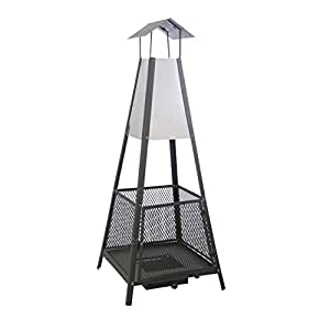 KAMINO FLAM Terrassenkamin Helena 481290, Feuerstelle für den Garten und Balkon, der Ofen besteht aus rostfreien Stahlelementen und einem Funkenschutzgitter, das Gitter verhindert Funkenflug, der Gitterofen besitzt eine Auffangschublade für Asche, die Maße des Kamins betragen ca. 50 x 50 x 130 cm