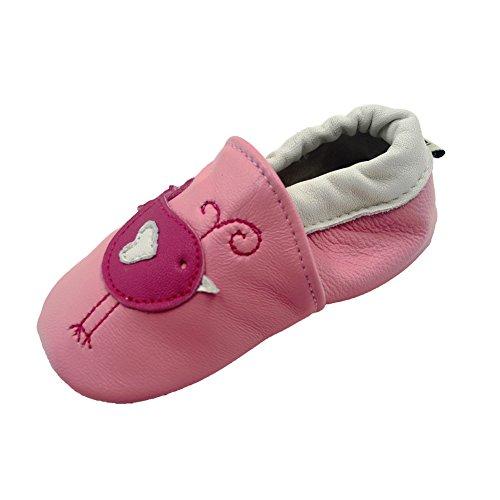 iEvolve Baby Mädchen Jungen Vögelchen Babyschuhe Baby Weiche Sohle Lederschuhe Baby Lauflernschuhe Krabbelschuhe(Rosa Vögelchen,18-24 Monate)