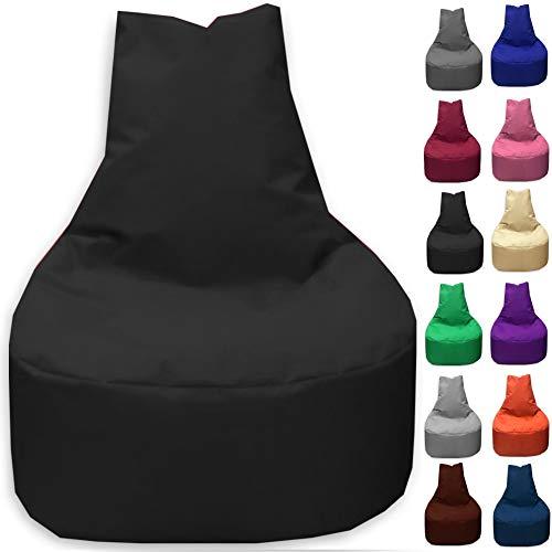 Sitzbag Sitzsack Sessel XL - XXL für Kinder und Erwachsene - In & Outdoor Sitzsäcke Kissen Sofa Hocker Sitzkissen Bodenkissen (XXL - 80cm Durchmesser, Schwarz)