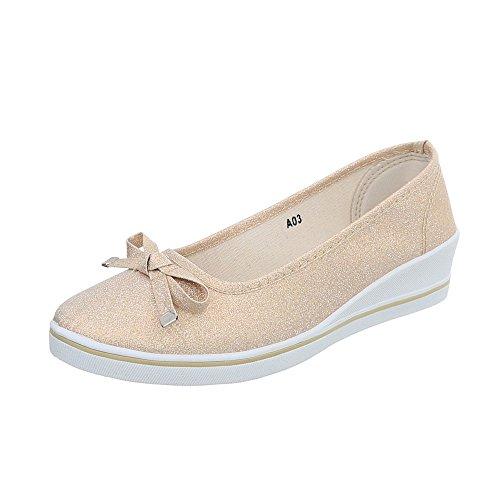 Ital-Design Klassische Ballerinas Damen-Schuhe Keilabsatz/Wedge Keilabsatz Beige Gold, Gr 39, A03-2- -