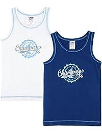 Jacky garçon lot de 2 maillots de corps sans manche, Classic Boys, bleu-blanc,771395