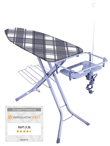 """XXL Eurogold Profi Bügeltisch """"Professional Harmony"""" 130 x 48 cm - mit absenkbarer Ablage für Dampfstationen - Qualität Made in Europe"""