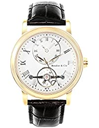 Boudier & Cie B15H13- Reloj analógico de pulsera para hombre (automático), correa de cuero negra