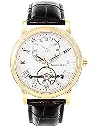 Boudier & Cie Herren-Armbanduhr Automatik Analog Leder Schwarz - B15H13