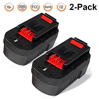 HPB18-OPE Battery 18V 3.0Ah 2 Packs, LENOGE Black+Decker A18 A18E HPB18 FSB18 FS18BX FS180BX 244760-00 Replacement Battery for Black and Decker GTC610 GPC1800 EPC188 HP188F2K Power Tool