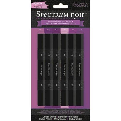 Crafters Companion Spectrum Noir à pointe fine encre Base d'alcool 6 Stylos New Violet