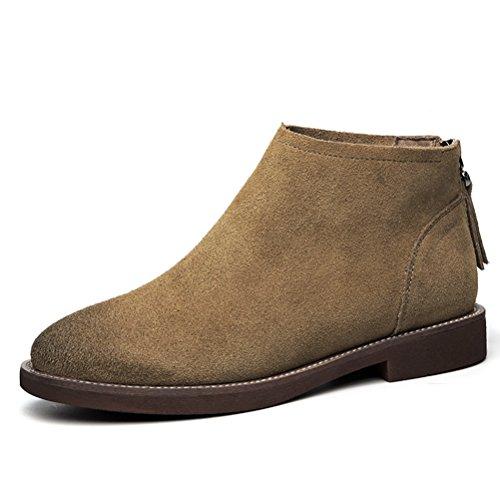 Braun Damen Rei脽verschluss Schuhe Einfache Winter Stiefeletten Rutsch Warme 脺berpassende Wildleder Anti Flache Kurzschaft q77W6Tr1