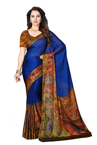 Rani Saahiba Satin Georgette Digital Print Saree ( SKR3578_Blue )