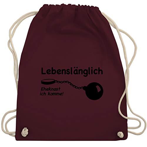 JGA Junggesellenabschied - Lebenslänglich - Eheknast ich komme - Unisize - Bordeauxrot - WM110 - Turnbeutel & Gym Bag