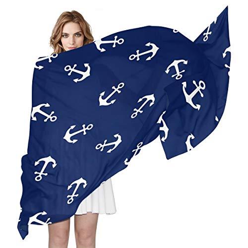 Nautische Badeanzüge (QMIN Schal aus Seide, mit Ankermotiv, langer, leichter Schal, ideal für Damen, Mädchen, Damen)