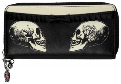 Banned Skulls & Roses Monedero Negro
