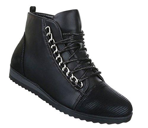 Damen Freizeitschuhe Stiefelette Schuhe Zipper Schnürer Boots Schwarz 37 irR0lDI5
