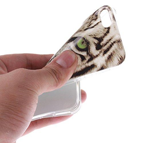 Pour Apple iPhone 5/5S Cas, MCHSHOP Ultra-mince TPU Silicone Cover souple Phone Housse Coque de protection pour iPhone 5/5S - 1 gratuit Touch Pen (Giraffe avec lunettes et Nœud papillon) Blanc tête de tigre