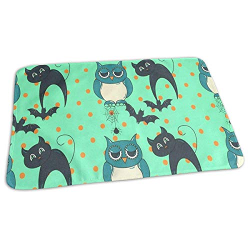 Halloween Owls and Cats Baby Diaper Urine Pad Mat Custom Boys Mattress Cover Sheet for Any Places for Home Travel Bed Play Stroller Crib Car ()
