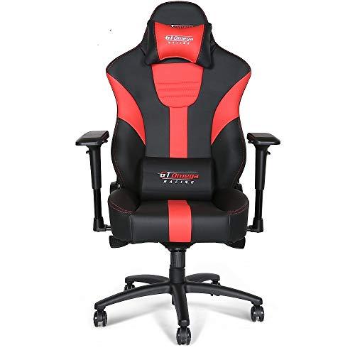 GT Omega Master XL Silla de Oficina de Cuero Negro y Rojo, con diseño Deportivo