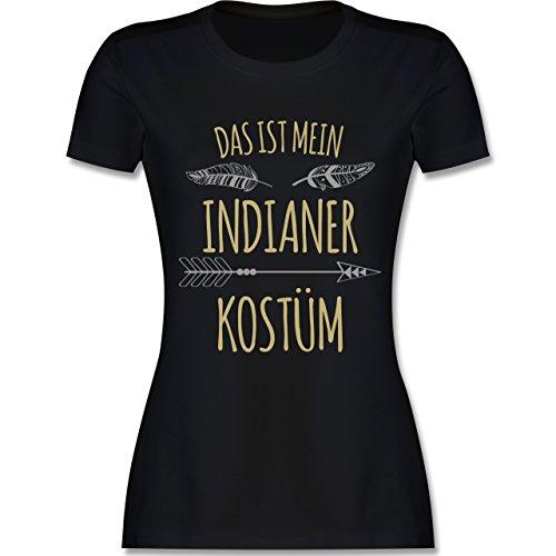 Shirtracer Karneval & Fasching - Das ist Mein Indianer Kostüm - Damen T-Shirt Rundhals Schwarz
