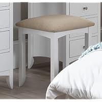 Edward Hopper white dressing table stool with padded cream cushion