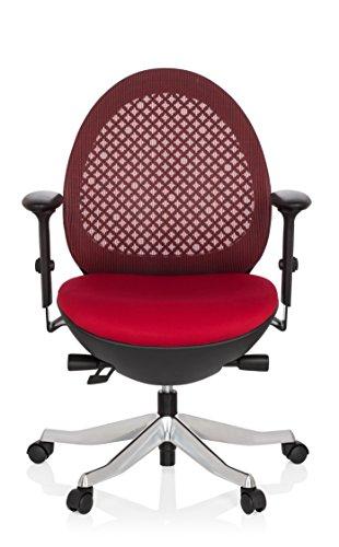 hjh OFFICE 640140 Bürostuhl CORVENT Netz-Stoff Schwarz/Rot Designer-Sessel Höhenverstellbar Armlehnen Netzrücken