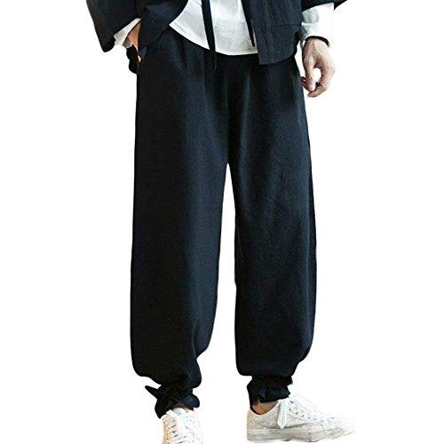 G-Like Harem Trainingshose Knickerbocker Pluderhose - Kampfkunst Kung Fu Tai Chi Yoga Training Retro Stil Hippie Palazzons Weite Beine Knöchel Gebunden Freizeit Kleidung (Schwarz, XXL) (Dragon Kung Fu Training)