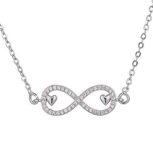NSXLSCL Halsketten Für Frauen,Elegantes Doppelzimmer Mini Herz Liebe Infinity Anhänger Frauen Halskette Kupfer Zirkonia Kristall Halsketten Kette Schmuck, Silber