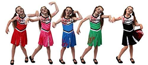Kinder Kostüm Cheerleader Zombie - ILOVEFANCYDRESS Kinder Zombie Cheerleader KOSTÜM VERKLEIDUNG= Aufschrift Squad = BEINHALTET - Kleid + KUNSTBLUT + SCHMINKE = Halloween Horror Party = ERHALTBAR IN 5 Farben =ROT/SMALL