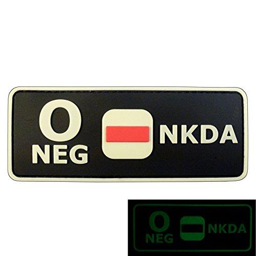 Glow Dark O NEG Blutgruppen NKDA Combat Taktisch Tactical PVC Gummi 3D GITD Velcro Aufnäher Patch