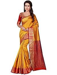 Craftsvilla Women's Cotton Silk Zari Border Traditional Yellow Red Saree With Blouse Piece