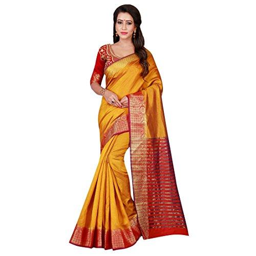 Craftsvilla Women's Cotton Silk Zari Border Traditional Yellow Red Saree with blouse...