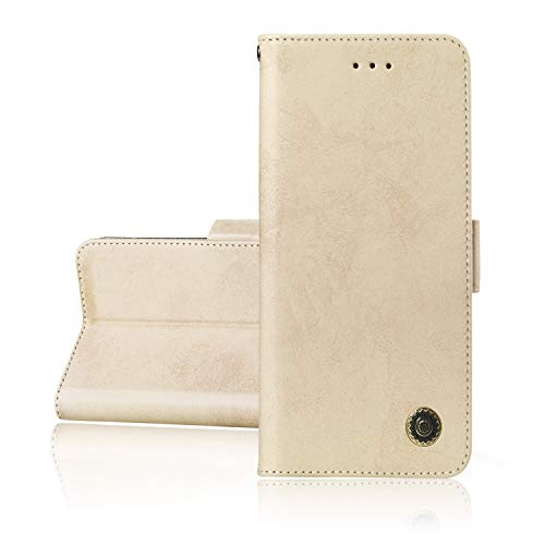 XCYYOO Funda Xiaomi Redmi Note 5 Silicona, Xiaomi Redmi Note 5 Carcasa Libro de Cuero con Tapa de Holster PU y Silicona Elegante,Ranuras de Tarjetas y Billetera Case Flip Cover(Dorado)