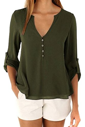 Frauen Ärmellose T - Shirt Bluse V - Chiffon - Sommer Armygreen