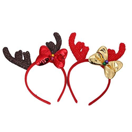 Lurrose 2 STÜCKE Rentiergeweih Haarreif für Geweih Kostüm Stirnband Headwear Kinder Weihnachten Heiliger Abend Haarschmuck (Heiligen Kostüm)