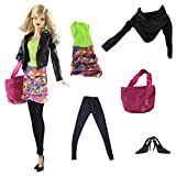 ZITA ELEMENT 5Stk Set Mode Outfit Kleidung für Barbie Doll Puppenkleidung Mäntel Schuhe Kleider Handtasche Strumpfhosen